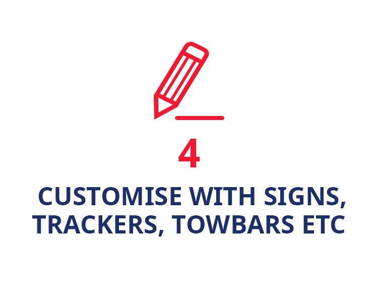 Customise with signs, trackers, towbars etc
